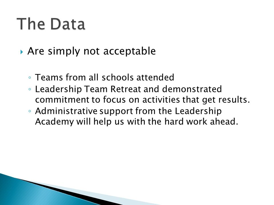  Are simply not acceptable ◦ Teams from all schools attended ◦ Leadership Team Retreat and demonstrated commitment to focus on activities that get results.