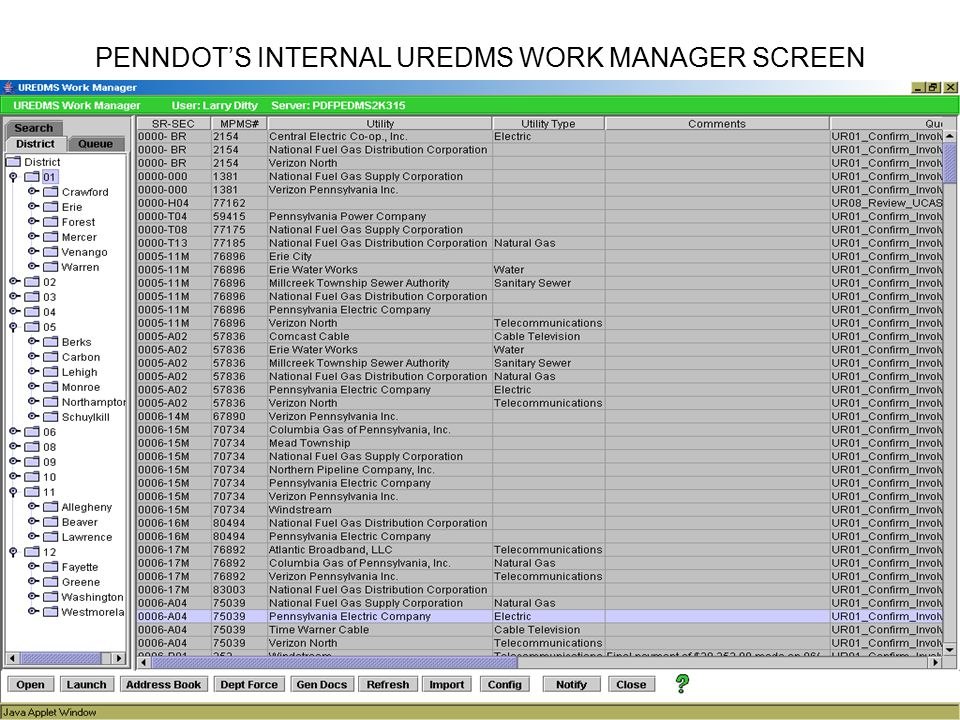 PENNDOT'S INTERNAL UREDMS WORK MANAGER SCREEN