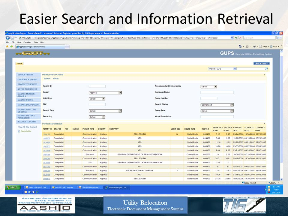 Easier Search and Information Retrieval Utility Relocation Electronic Document Management System