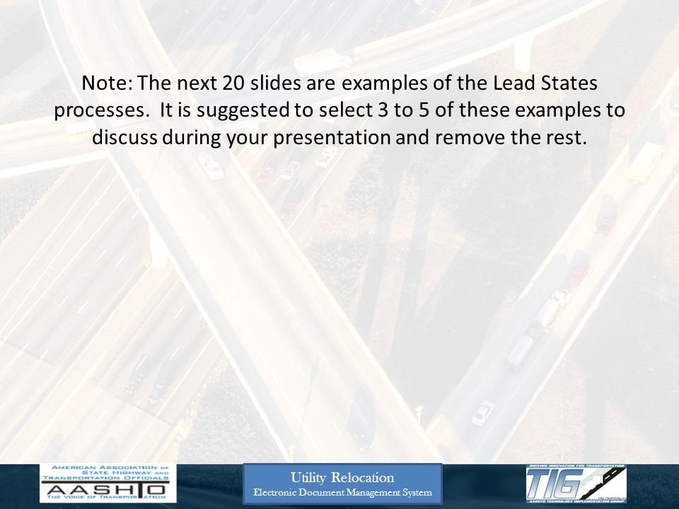 Note: The next 20 slides are examples of the Lead States processes. It is suggested to select 3 to 5 of these examples to discuss during your presenta