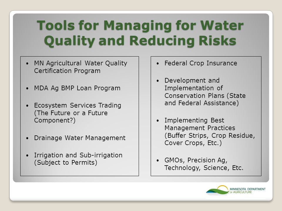 Tools for Managing for Water Quality and Reducing Risks Federal Crop Insurance Development and Implementation of Conservation Plans (State and Federal Assistance) Implementing Best Management Practices (Buffer Strips, Crop Residue, Cover Crops, Etc.) GMOs, Precision Ag, Technology, Science, Etc.