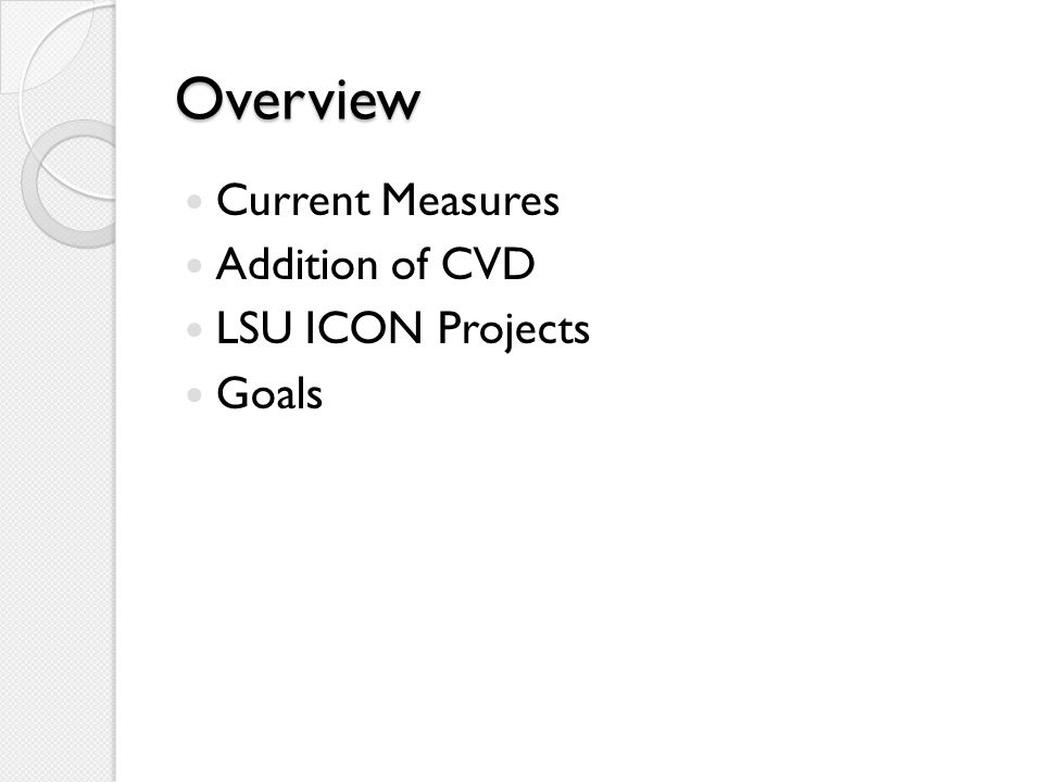 Overview Current Measures Addition of CVD LSU ICON Projects Goals