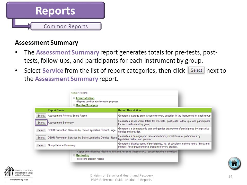 Reports Common Reports Assessment Summary The Assessment Summary report generates totals for pre-tests, post- tests, follow-ups, and participants for each instrument by group.