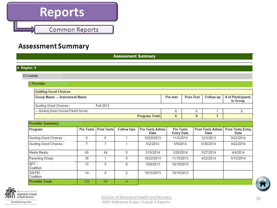 Reports Common Reports Assessment Summary 16 Division of Behavioral Health and Recovery PBPS Reference Guide: Module 4 Reports
