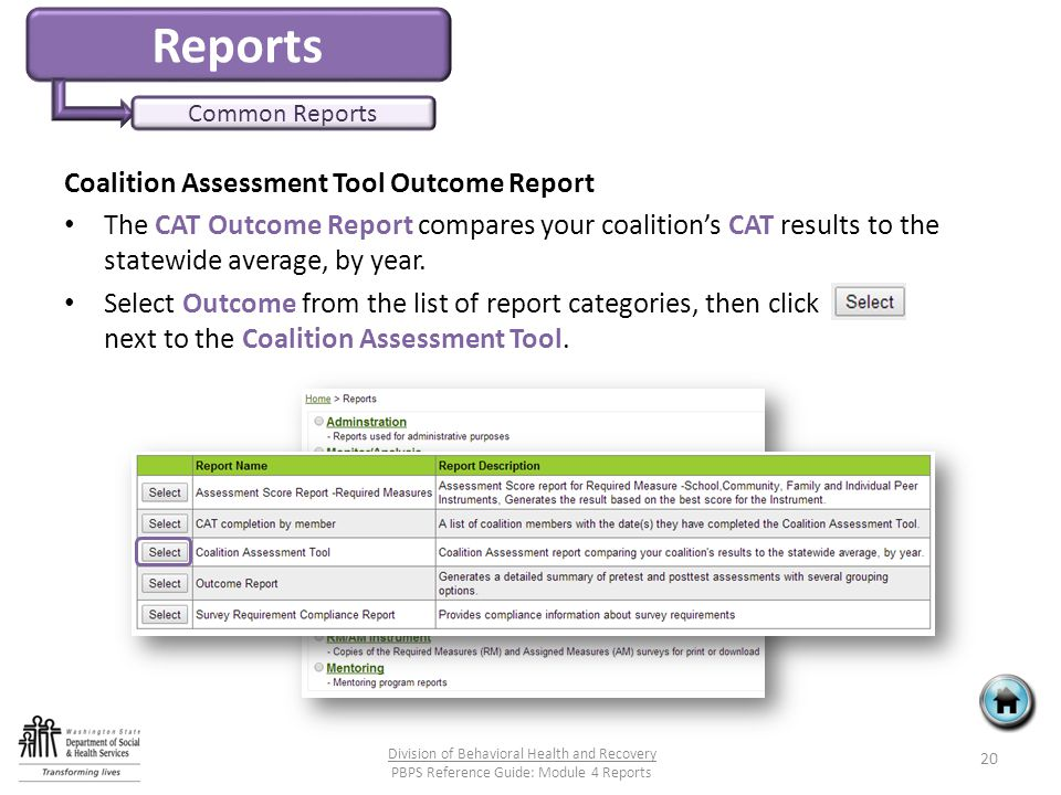 Reports Common Reports Coalition Assessment Tool Outcome Report The CAT Outcome Report compares your coalition's CAT results to the statewide average, by year.