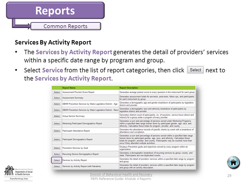 Reports Common Reports Services By Activity Report The Services by Activity Report generates the detail of providers' services within a specific date range by program and group.