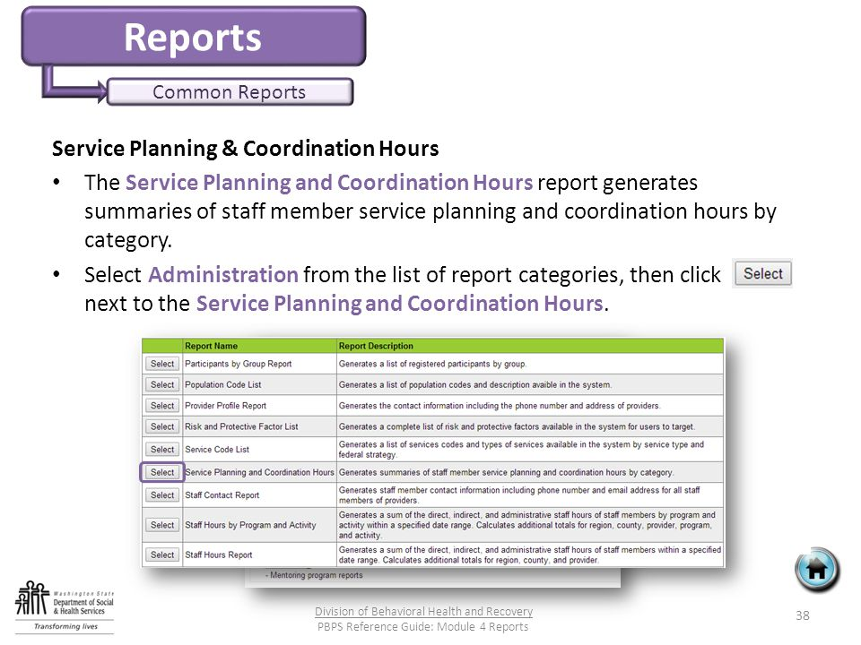Reports Common Reports Service Planning & Coordination Hours The Service Planning and Coordination Hours report generates summaries of staff member service planning and coordination hours by category.