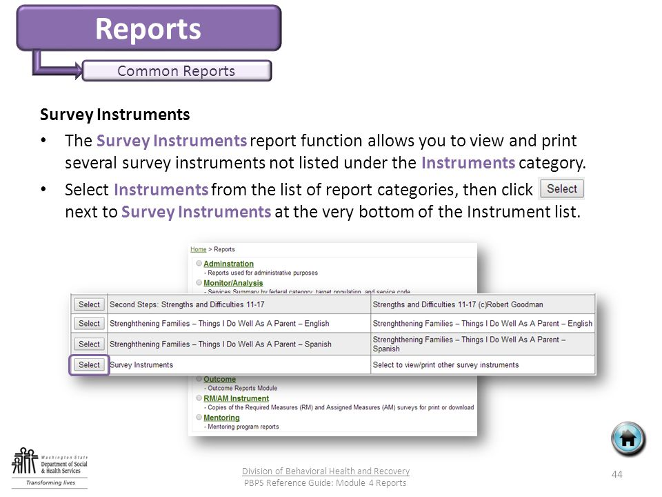 Reports Common Reports Survey Instruments The Survey Instruments report function allows you to view and print several survey instruments not listed under the Instruments category.