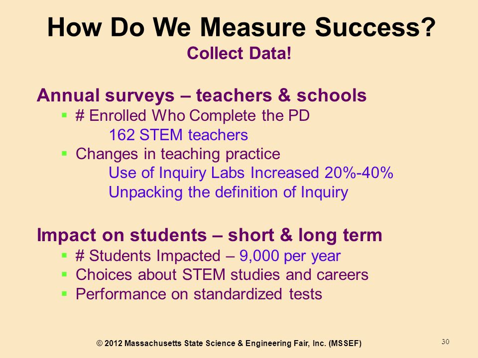 © 2012 Massachusetts State Science & Engineering Fair, Inc. (MSSEF) How Do We Measure Success? Collect Data! 30 Annual surveys – teachers & schools 