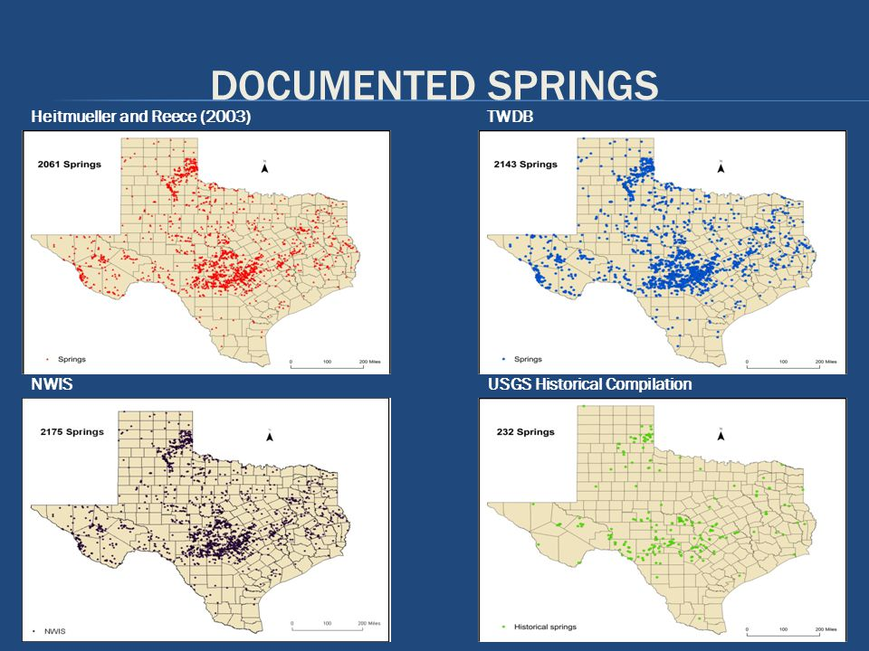 DOCUMENTED SPRINGS NWIS Heitmueller and Reece (2003) USGS Historical Compilation TWDB