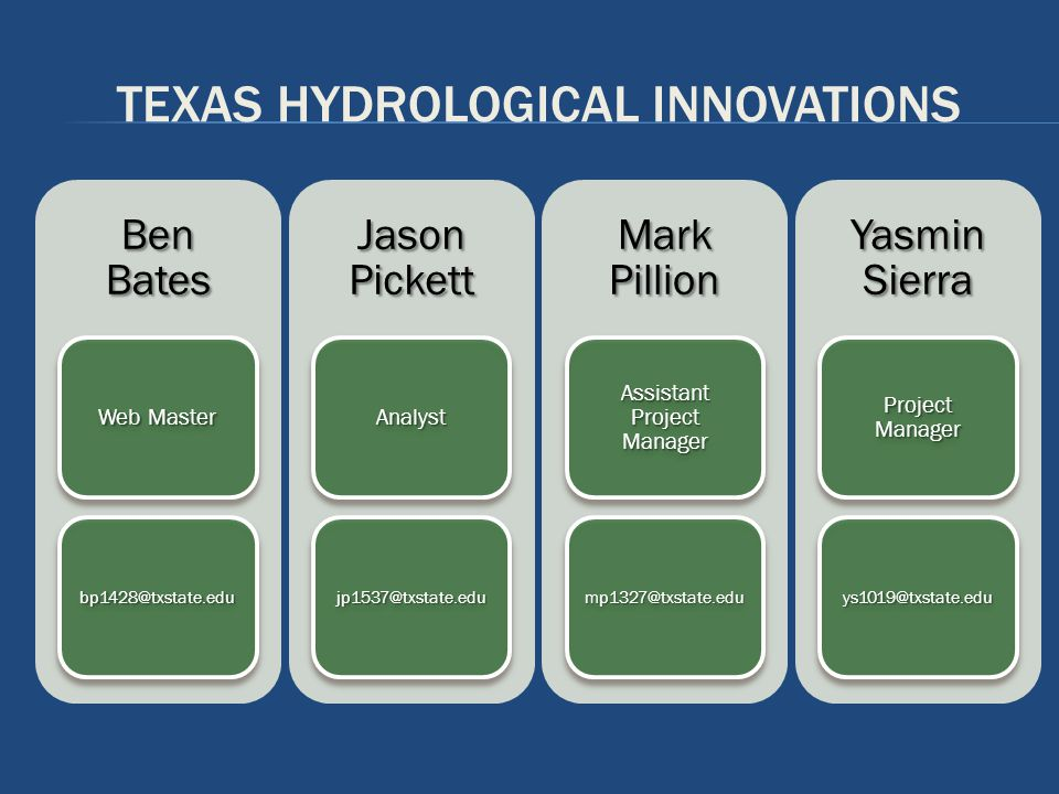 INTRODUCTION Texas Hydrological Innovations Is composed of spatial analysts We specialize in water resources Utilizing GIS technology/tools Improving freshwater management