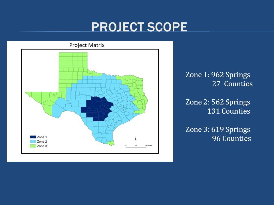 PROJECT SCOPE Zone 1: 962 Springs 27 Counties Zone 2: 562 Springs 131 Counties Zone 3: 619 Springs 96 Counties