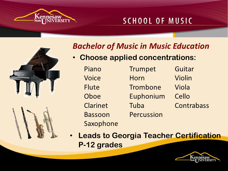 Leads to Georgia teacher certification Pre-K through 12 th grades in selected teaching field Concentrations available include: French German Spanish Degree is a major in the primary language with coursework required for teacher certification Foreign Language Education