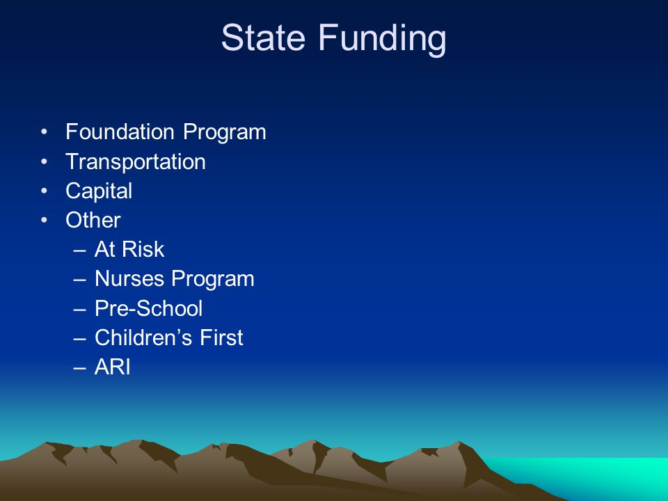 State Funding Foundation Program Transportation Capital Other –At Risk –Nurses Program –Pre-School –Children's First –ARI