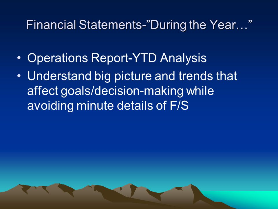 Financial Statements- During the Year… Operations Report-YTD Analysis Understand big picture and trends that affect goals/decision-making while avoiding minute details of F/S