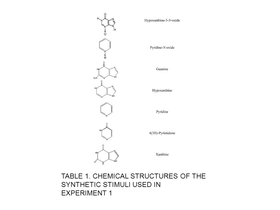 TABLE 1. CHEMICAL STRUCTURES OF THE SYNTHETIC STIMULI USED IN EXPERIMENT 1