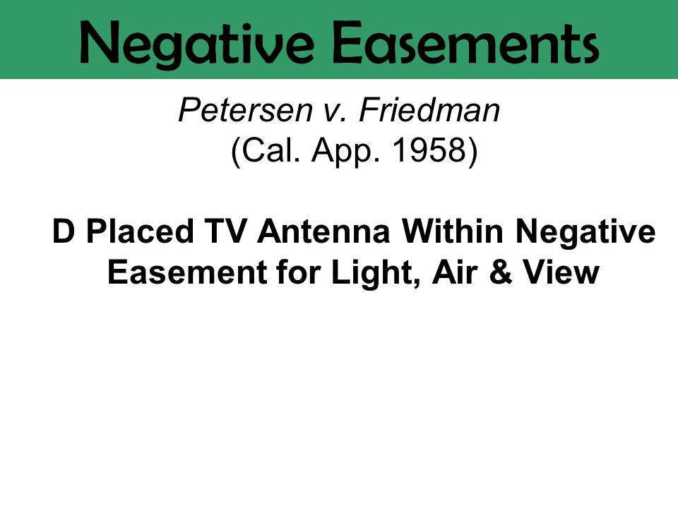 Negative Easements Petersen v. Friedman (Cal. App.