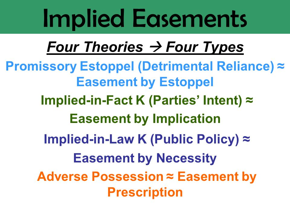 Implied Easements Four Theories  Four Types Promissory Estoppel (Detrimental Reliance) ≈ Easement by Estoppel Implied-in-Fact K (Parties' Intent) ≈ Easement by Implication Implied-in-Law K (Public Policy) ≈ Easement by Necessity Adverse Possession ≈ Easement by Prescription