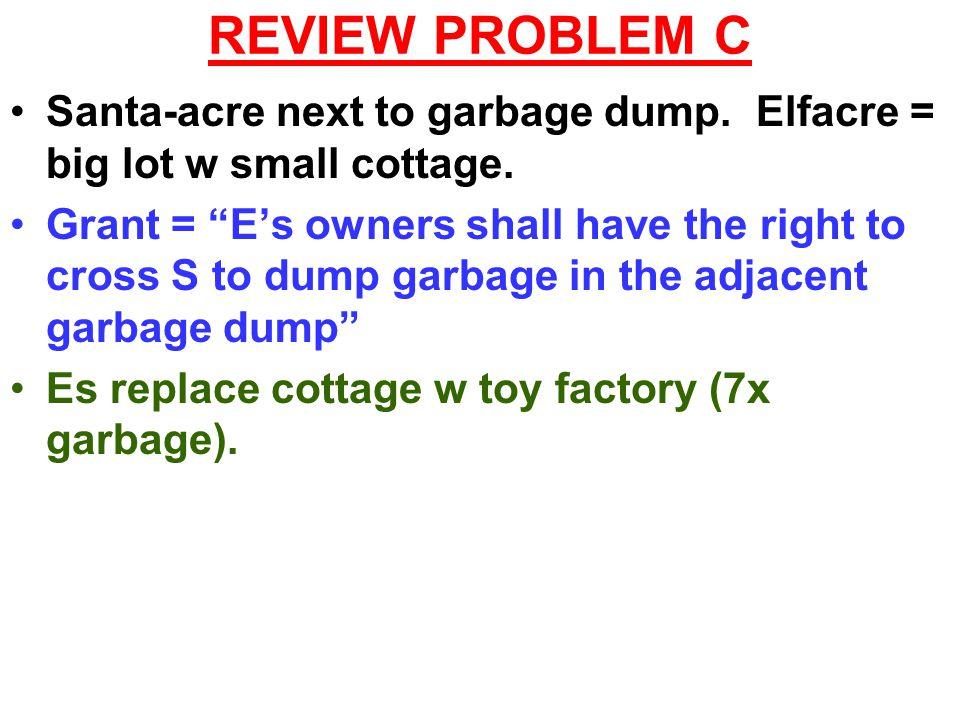 REVIEW PROBLEM C Santa-acre next to garbage dump. Elfacre = big lot w small cottage.