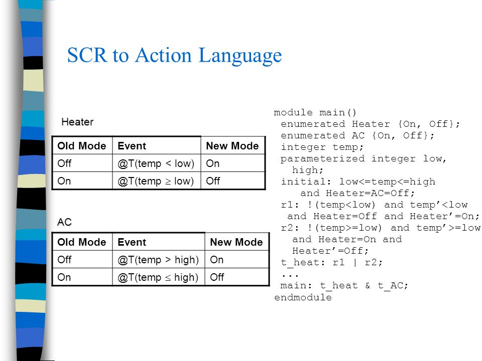 SCR to Action Language module main() enumerated Heater {On, Off}; enumerated AC {On, Off}; integer temp; parameterized integer low, high; initial: low