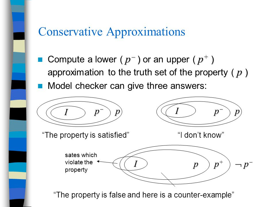 Conservative Approximations p  ) p + ) p ) Compute a lower ( p  ) or an upper ( p + ) approximation to the truth set of the property ( p ) Model che