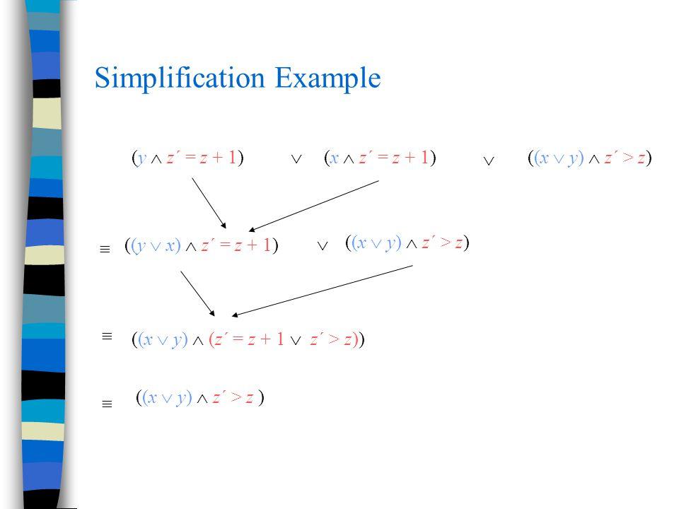 Simplification Example (y  z´ = z + 1)(x  z´ = z + 1)((x  y)  z´ > z)    ((y  x)  z´ = z + 1)   ((x  y)  (z´ = z + 1  z´ > z))  ((x  y)  z´ > z )