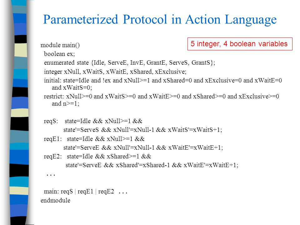 Parameterized Protocol in Action Language module main() boolean ex; enumerated state {Idle, ServeE, InvE, GrantE, ServeS, GrantS}; integer xNull, xWai