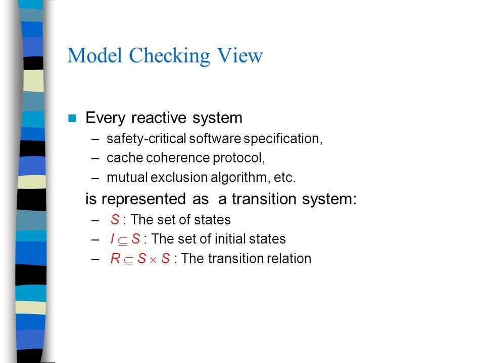 smv: SMV smv+co: SMV with William Chan's interleaved variable ordering omc: Our model checker built on Omega Library Intel Pentium PC (500MHz, 128MByte main memory) AG(!(pc1=cs && pc2=cs))