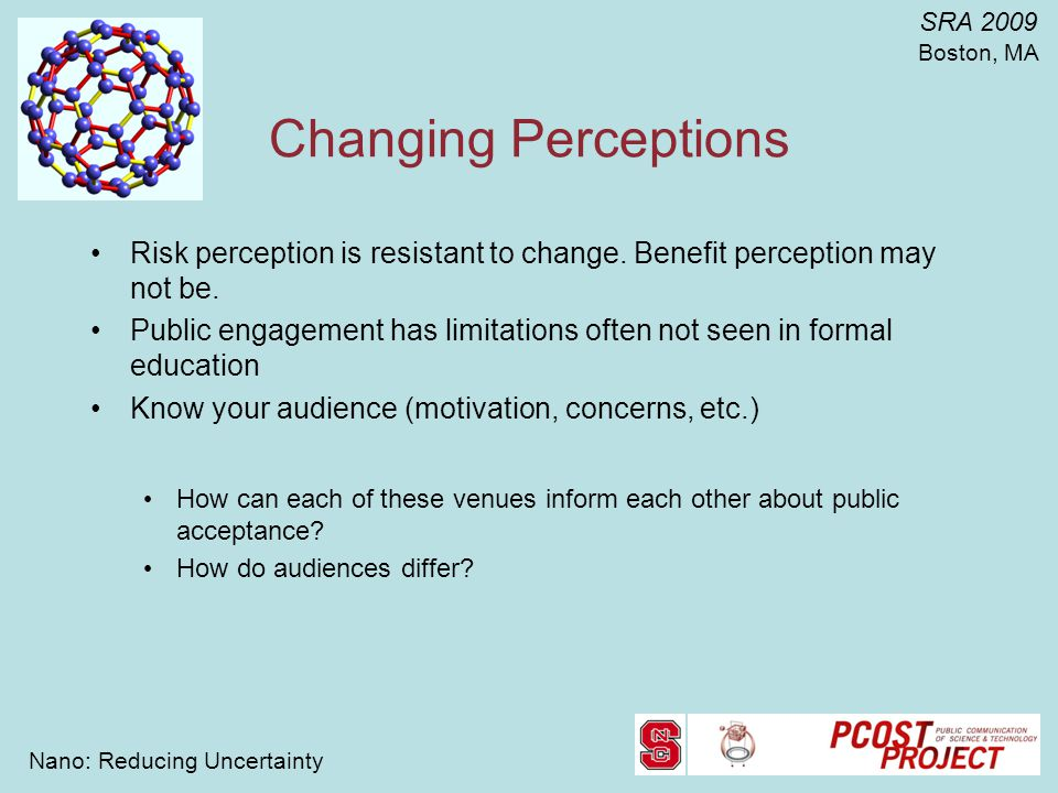 Nano: Reducing Uncertainty SRA 2009 Boston, MA Changing Perceptions Risk perception is resistant to change.