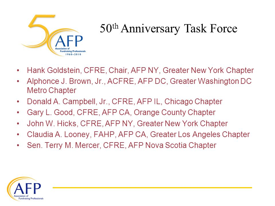 Hank Goldstein, CFRE, Chair, AFP NY, Greater New York Chapter Alphonce J.