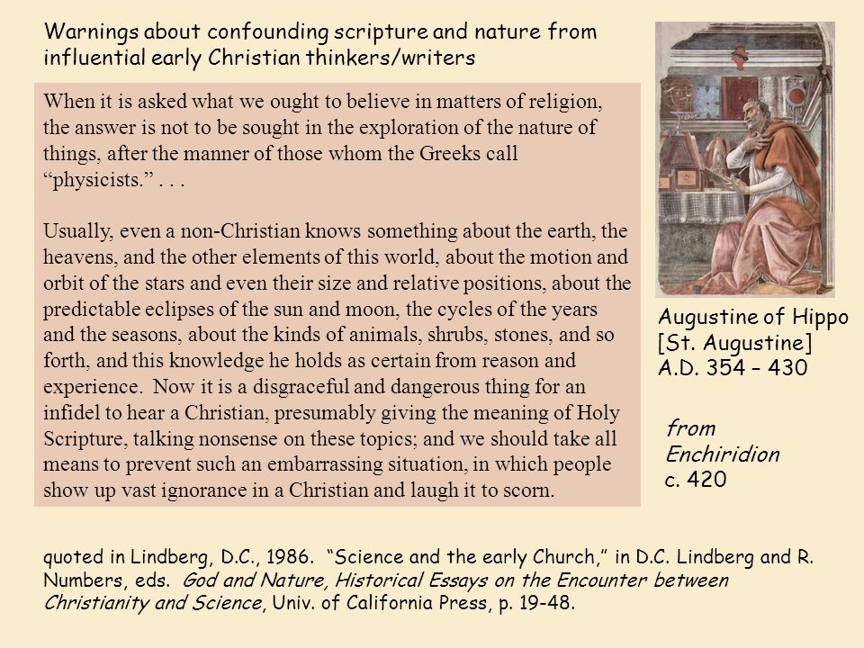 Warnings about confounding scripture and nature from influential early Christian thinkers/writers [St.] Thomas Aquinas c.