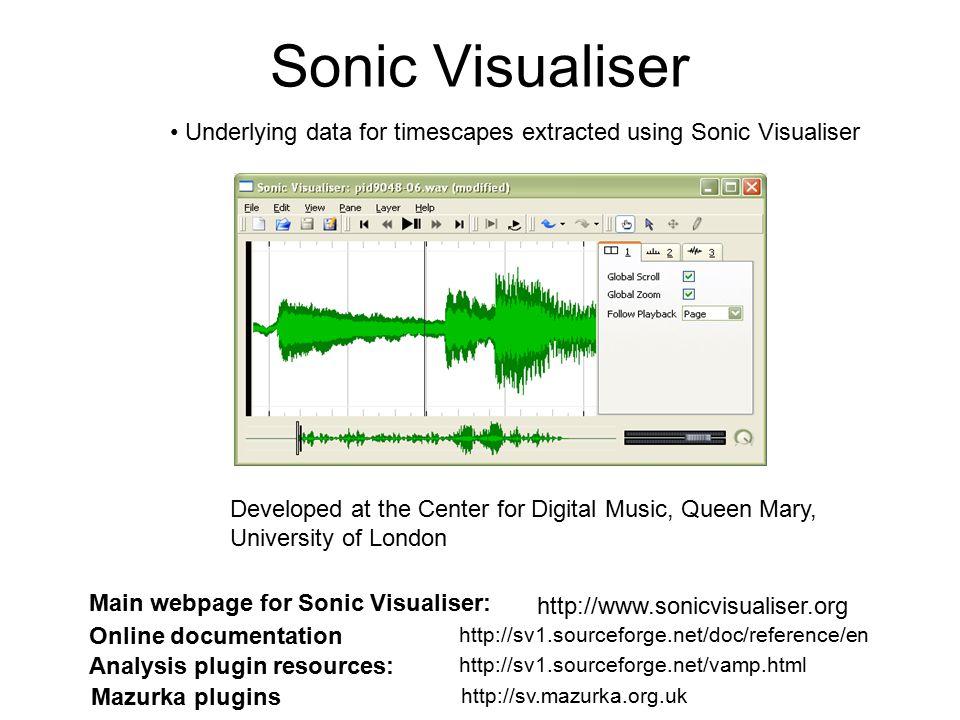 Sonic Visualiser Main webpage for Sonic Visualiser: http://www.sonicvisualiser.org Analysis plugin resources: http://sv1.sourceforge.net/vamp.html Maz