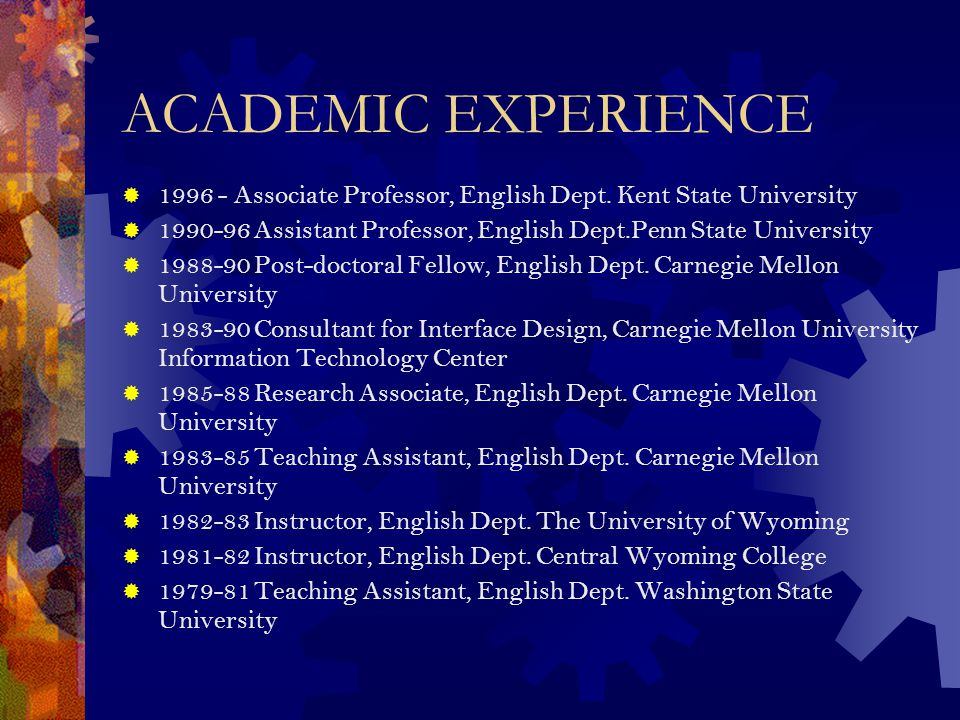Administrative Experience  Program Director, Writing Internship Program, English Department, Kent State, 1996-present.