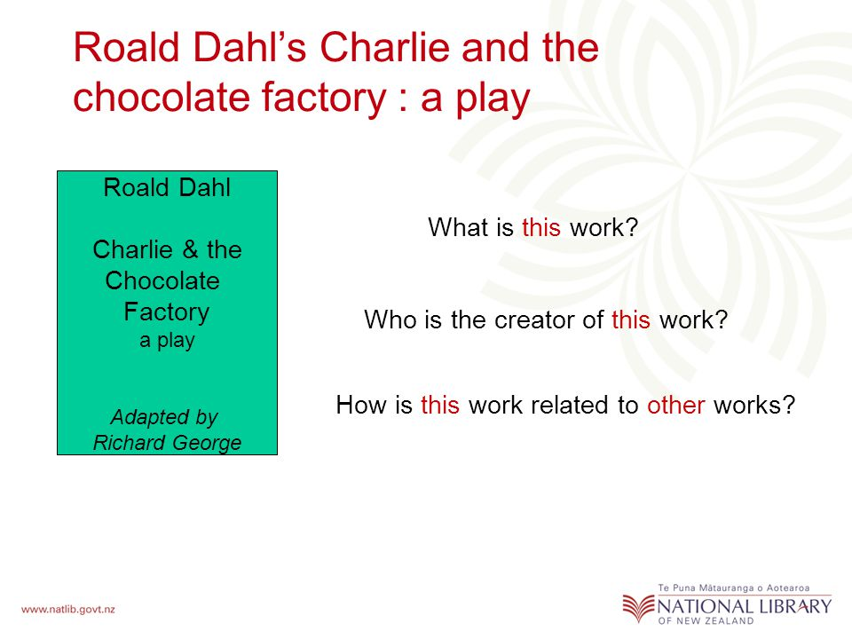 Roald Dahl's Charlie and the chocolate factory : a play What is this work.