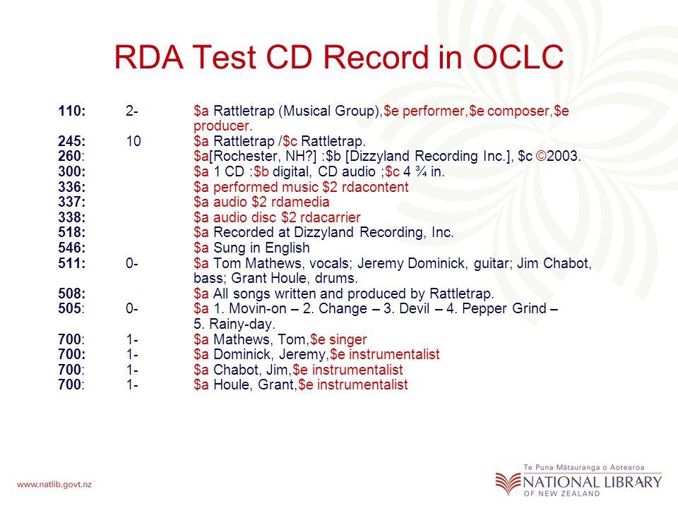 RDA Test CD Record in OCLC 110: 2-$a Rattletrap (Musical Group),$e performer,$e composer,$e producer.