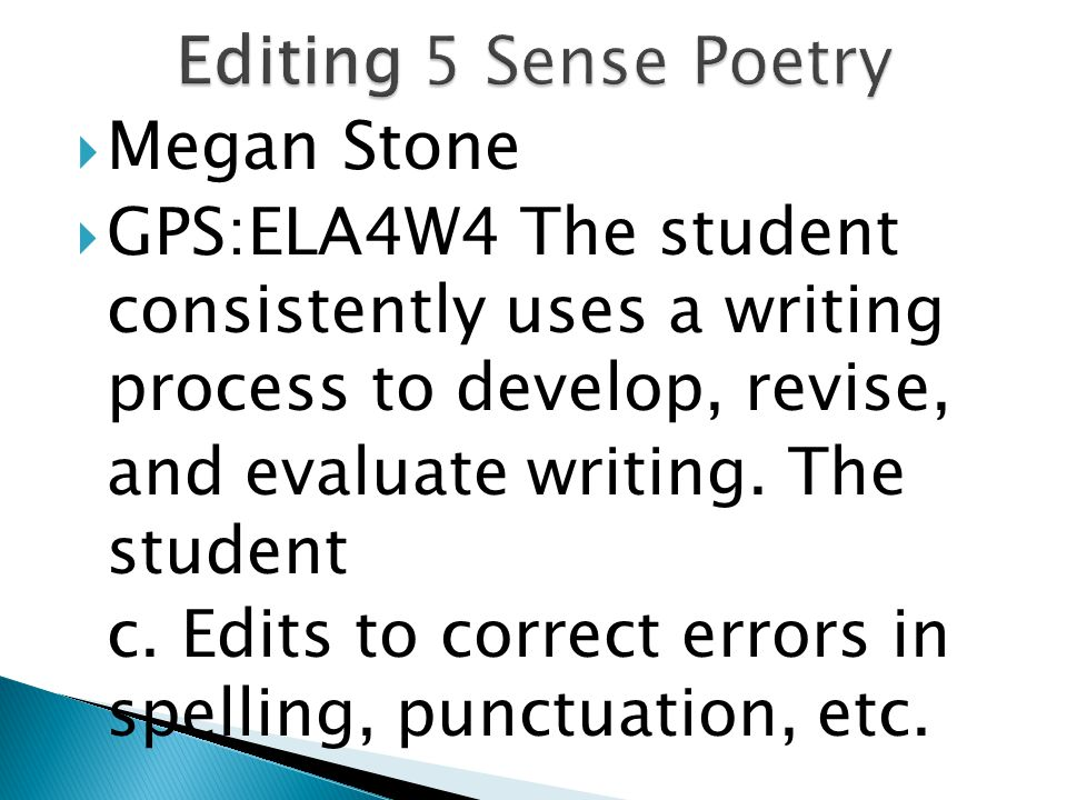  Megan Stone  GPS:ELA4W4 The student consistently uses a writing process to develop, revise, and evaluate writing.