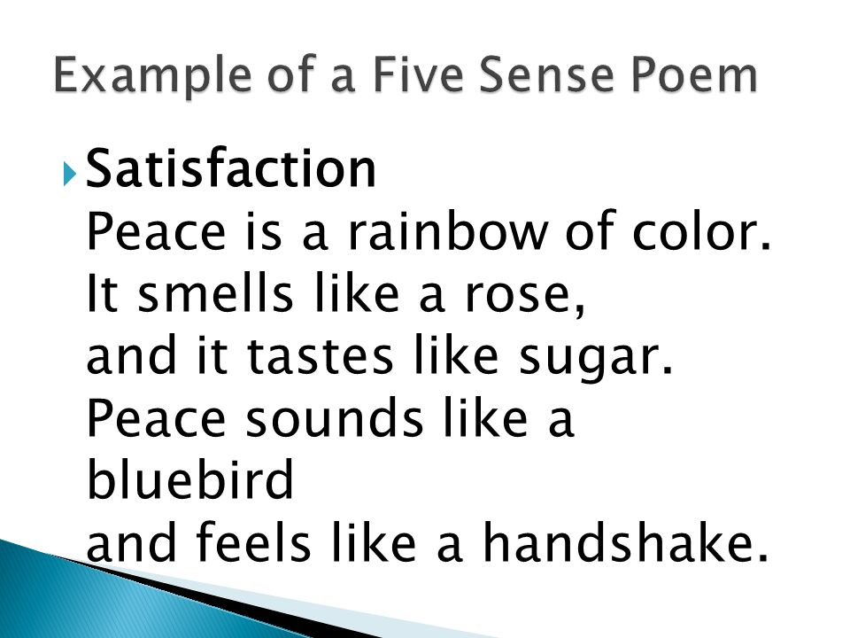  How do I create a five sense poem? : (N.F. Williams, early childhood. ed, April 5, 2010)
