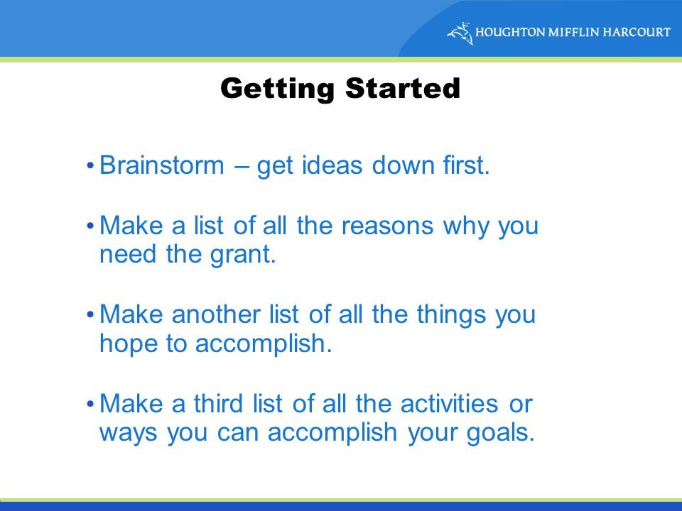 Getting Started Brainstorm – get ideas down first.