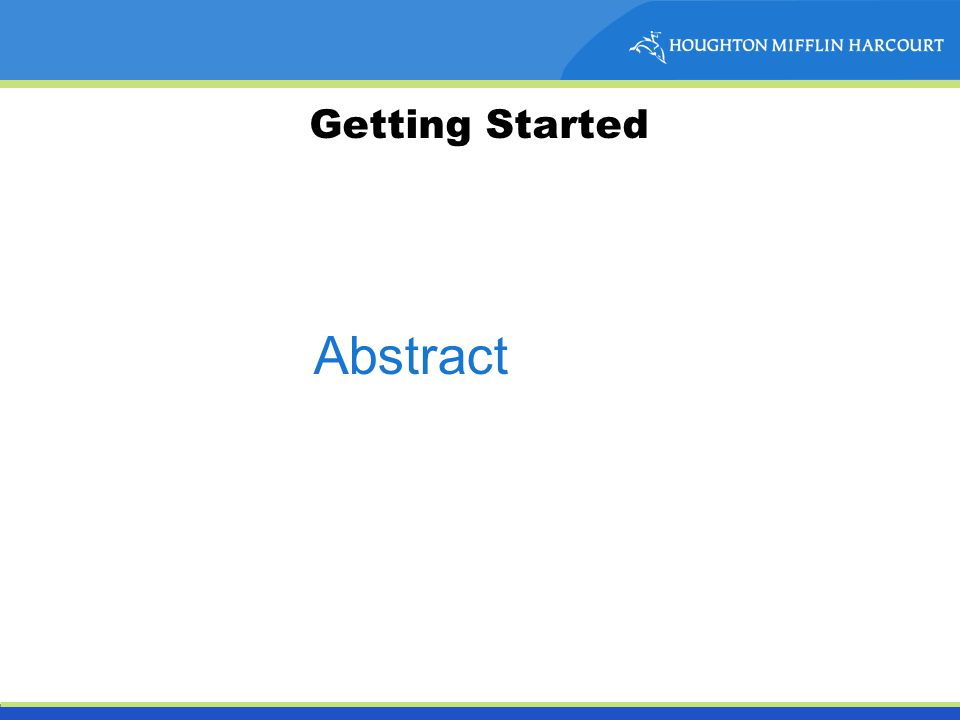 Getting Started Abstract