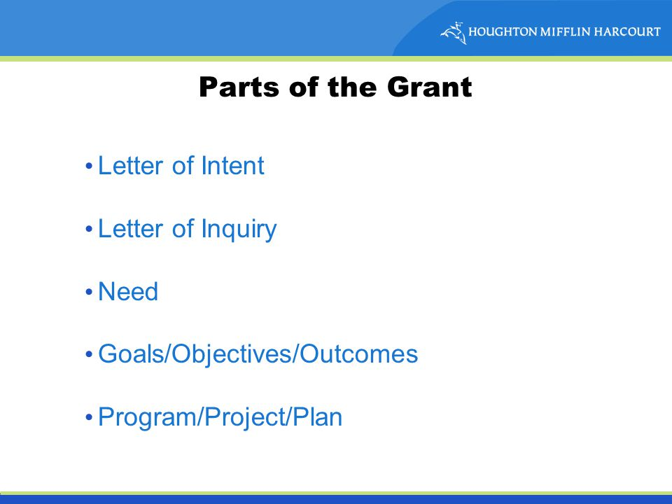 Parts of the Grant Letter of Intent Letter of Inquiry Need Goals/Objectives/Outcomes Program/Project/Plan