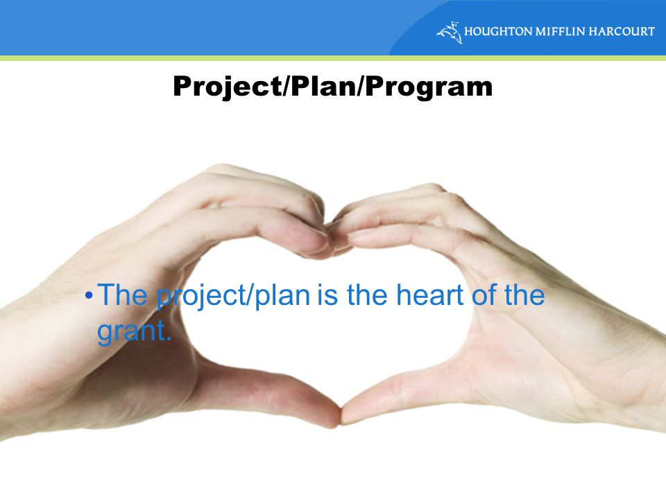 Project/Plan/Program The project/plan is the heart of the grant.