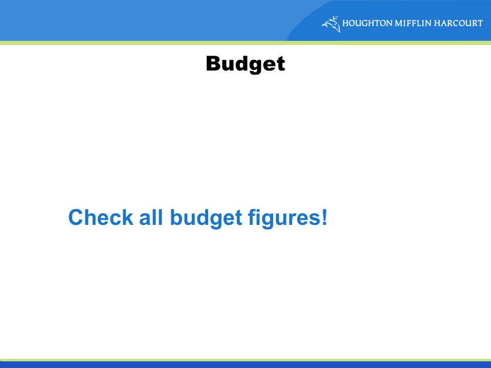 Budget Check all budget figures!