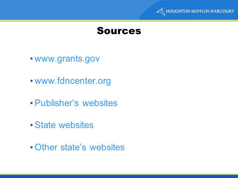 Sources www.grants.gov www.fdncenter.org Publisher's websites State websites Other state's websites