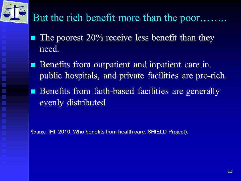 15 But the rich benefit more than the poor…….. The poorest 20% receive less benefit than they need.