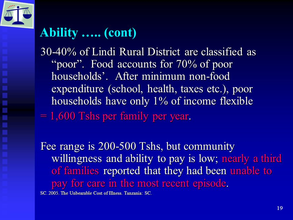 19 Ability ….. (cont) 30-40% of Lindi Rural District are classified as poor .