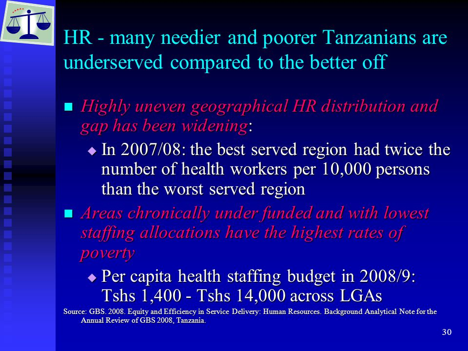 30 HR - many needier and poorer Tanzanians are underserved compared to the better off Highly uneven geographical HR distribution and gap has been widening: Highly uneven geographical HR distribution and gap has been widening:  In 2007/08: the best served region had twice the number of health workers per 10,000 persons than the worst served region Areas chronically under funded and with lowest staffing allocations have the highest rates of poverty Areas chronically under funded and with lowest staffing allocations have the highest rates of poverty  Per capita health staffing budget in 2008/9: Tshs 1,400 - Tshs 14,000 across LGAs Source: GBS.