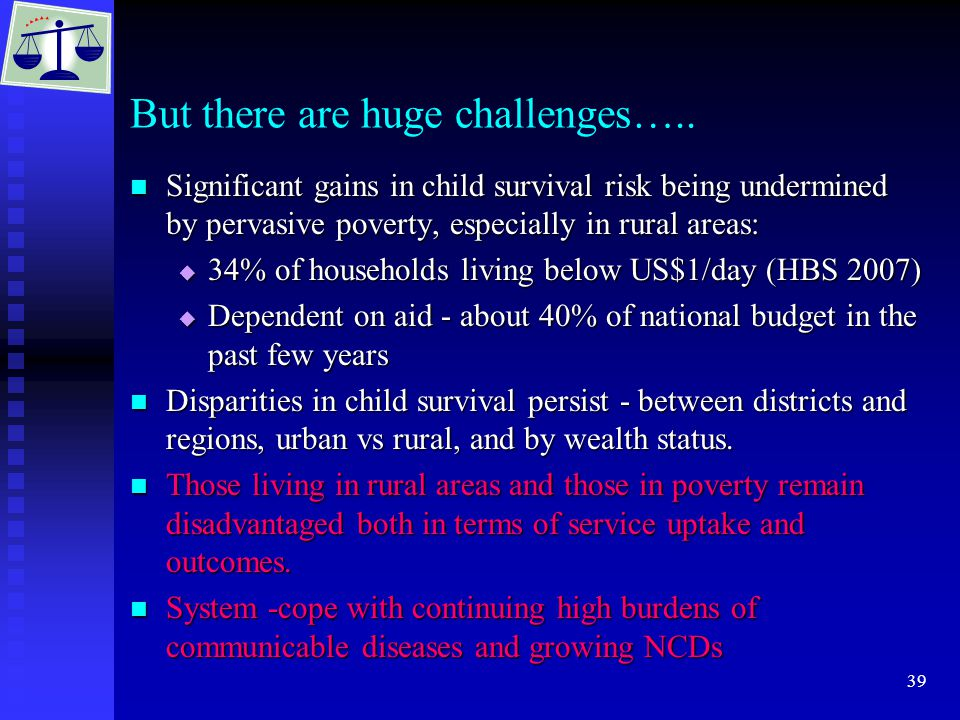 39 But there are huge challenges….. Significant gains in child survival risk being undermined by pervasive poverty, especially in rural areas: Signifi