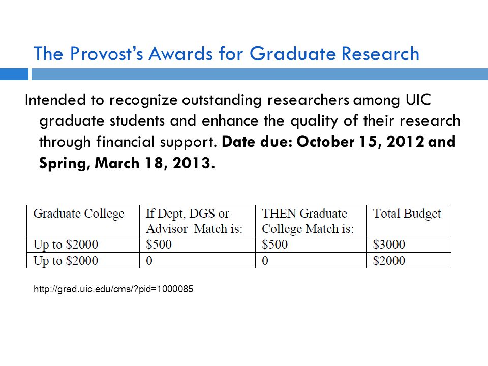 The Provost's Awards for Graduate Research Intended to recognize outstanding researchers among UIC graduate students and enhance the quality of their research through financial support.