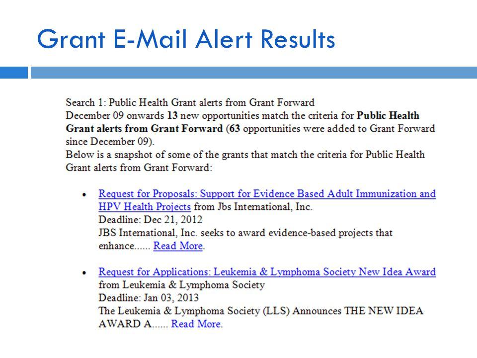 Grant E-Mail Alert Results