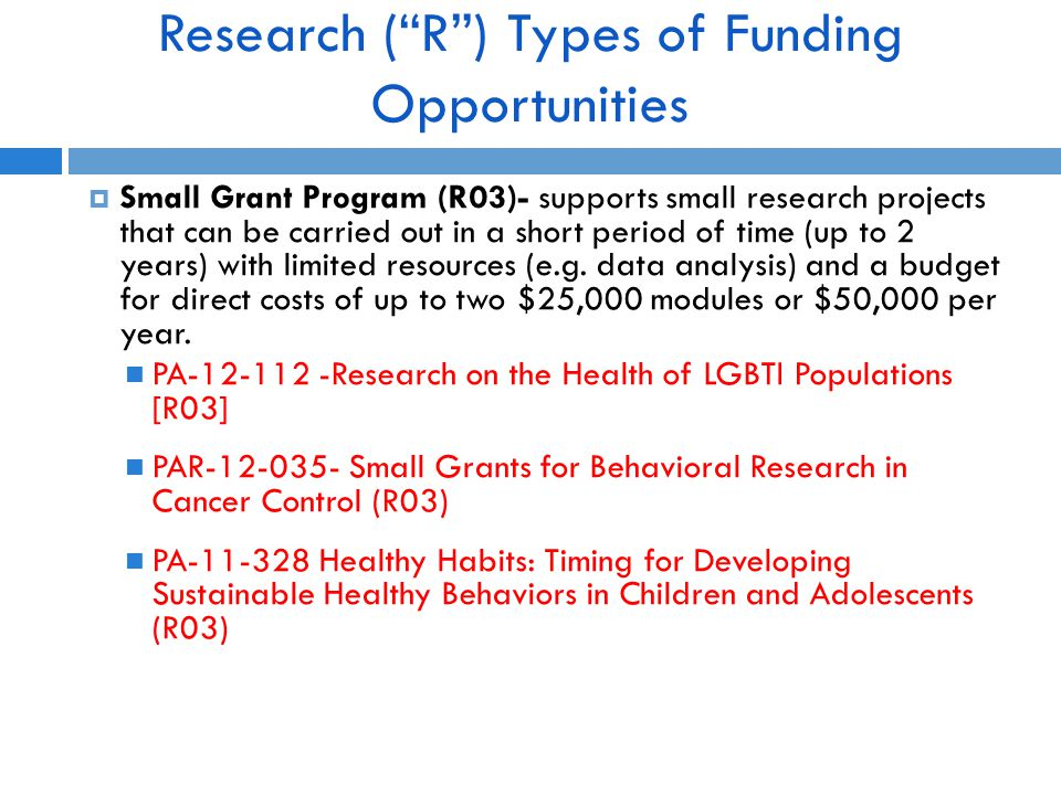 Research ( R ) Types of Funding Opportunities  Small Grant Program (R03)- supports small research projects that can be carried out in a short period of time (up to 2 years) with limited resources (e.g.